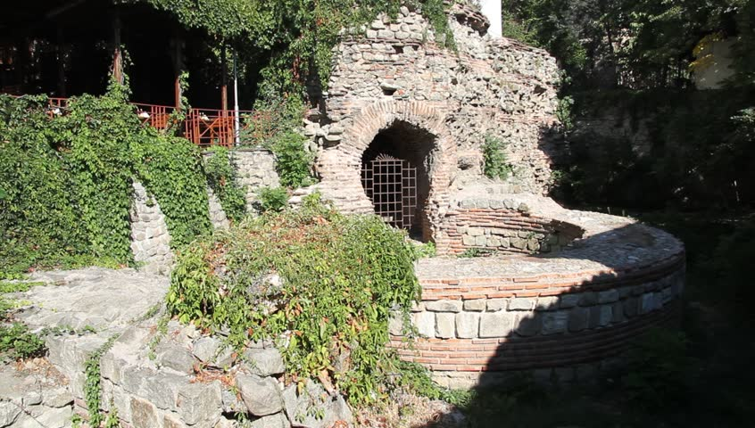 Ruins of round tower in Plovdiv, Bulgaria