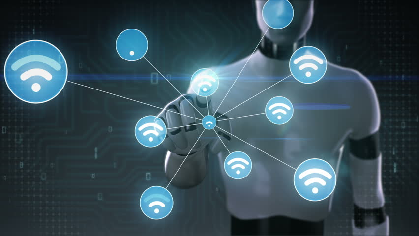 Robot, cyborg touching screen, Wireless technology icon connect global world map. dots makes world map, internet of things. | Shutterstock HD Video #27780613