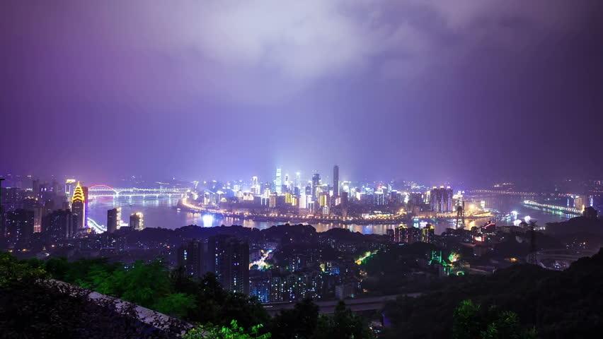 night scene of modern city - chongqing ,time lapse