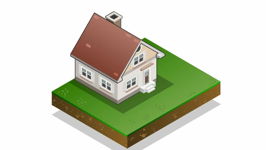 Lovely Hd00:25Detailed Animation Of A Isometric House With Seven Energy Class Bars