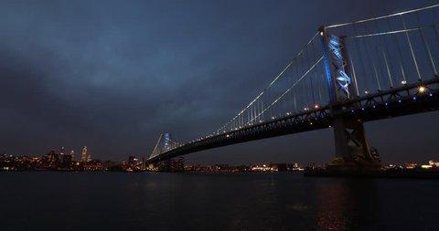 Time-lapse of the Philadelphia skyline behind the Benjamin Franklin Bridge at night