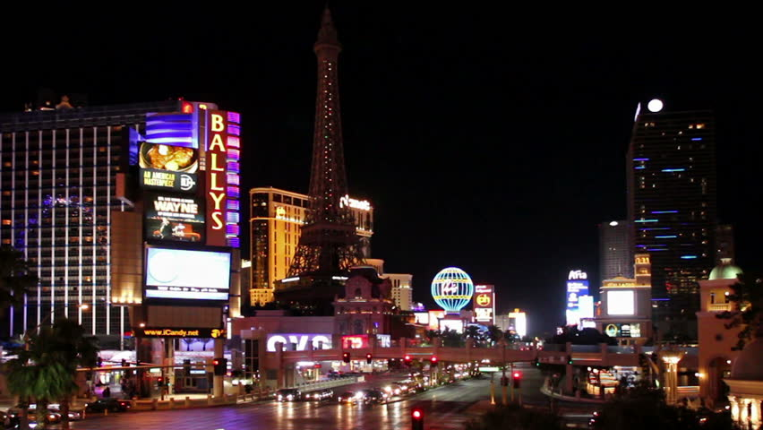Las Vegas, USA - May 19, 2017: Nightlife on Las Vegas Strip Boulevard at Ballys | Shutterstock HD Video #27870187