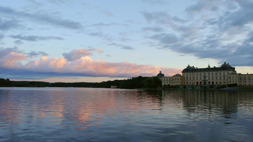 Drottningholm Palace at dusk. Castle establishing shot, Stockholm, Sweden