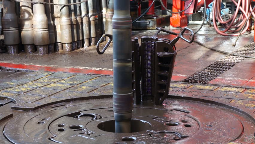 Drill Pipe Is Being Rotated Through Rotary Table on Drilling Rig