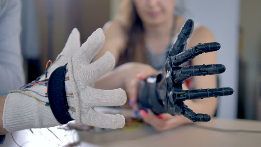Bionic arm is making some movements. Artificial arm mechanism is being tested. 4K. #27942553