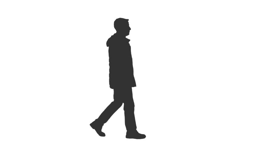 Black and white silhouette of a young man walking in the street, Full HD footage with alpha channel