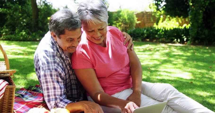 Senior couple using laptop at the park #27972973