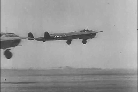 1940s: Luftwaffe planes take off in 1940.
