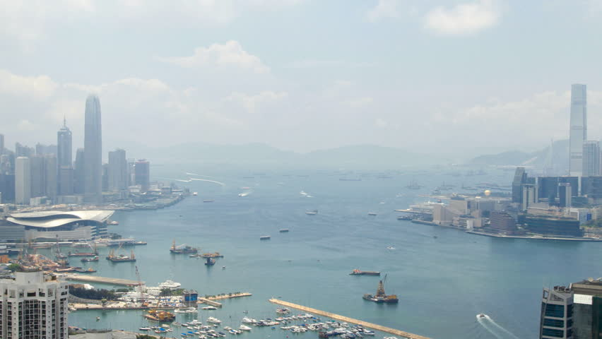 Hong Kong Harbor panorama cityscape - Central District, Victoria Harbor, Victoria Peak, Hong Kong Island and Kowloon, Hong Kong. | Shutterstock HD Video #2803519