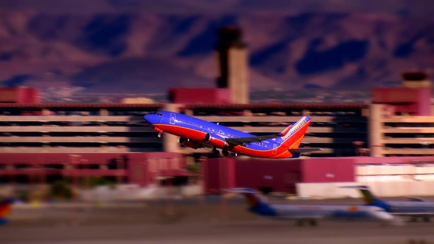 LAS VEGAS, NEVADA - JUNE 2017: Southwest Airlines passenger jet takes off from McCarran International Airport. 4K