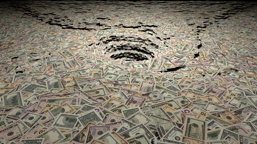 Money sucked into a pit animation.  Made with 100, 50, 20, 10, 5 and 1 dollar bills. A soft circle wipe effect can be used to transition to another scene.