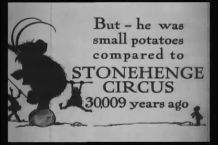 """1920s: The brontosaurus at the """"Stonehenge Circus"""" is beaten into submission by the crowd and his master in this cartoon from 1921."""