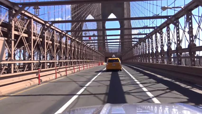 October 10 2015: Driving on Brooklyn Bridge from Manhattan to Brooklyn on a sunny day October 10 2015 | Shutterstock HD Video #28101613