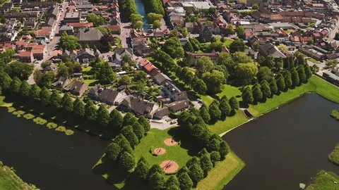 Aerial view of Klundert in Noord-Brabant (The Netherlands) by drone