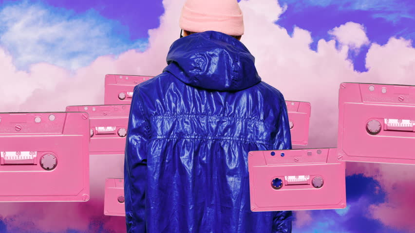 Girl in purple vintage dreams Audio cassette background surreal fashion art