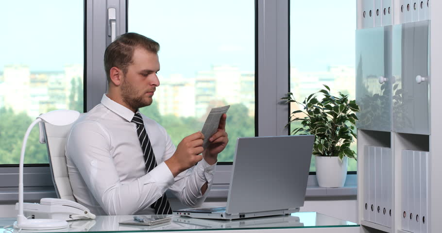 Corporate Business Man Reading Newspaper Press Info Free Time Recreation Office | Shutterstock HD Video #28138483
