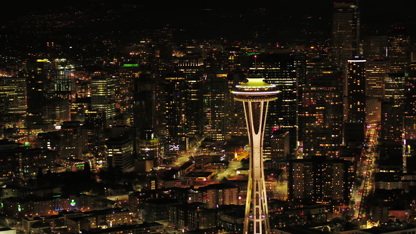 Seattle Aerial v110 Flying around South Lake Union area at night with cityscape views 4/17