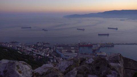 Gibraltar harbor just after sunset from Gibraltar Rock