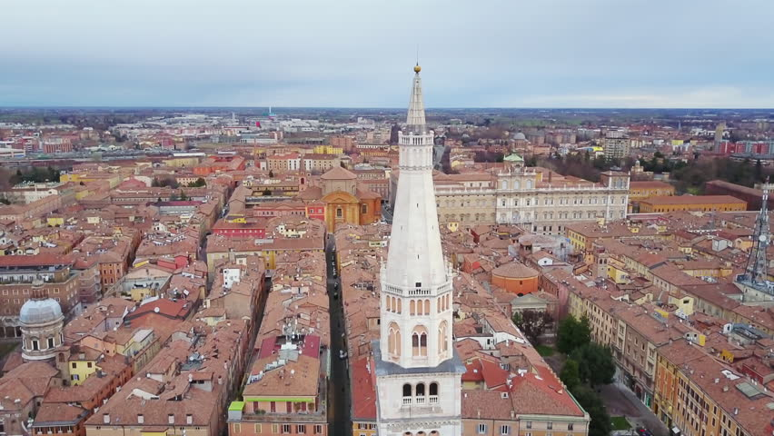 Modena ghirlandina tower aerial view flying down | Shutterstock HD Video #28178113