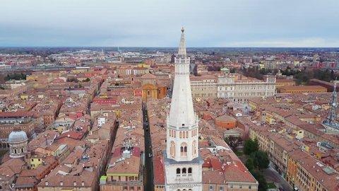 modena ghirlandina tower aerial view flying down