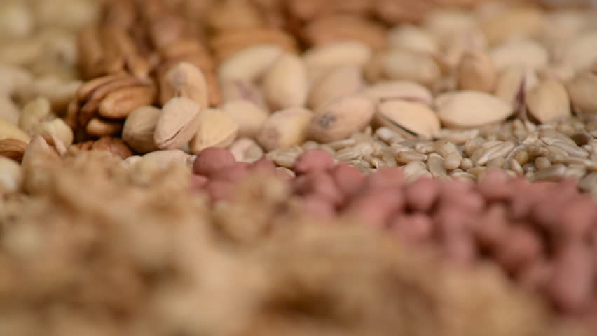 Nuts mix in a canvas bag in table.