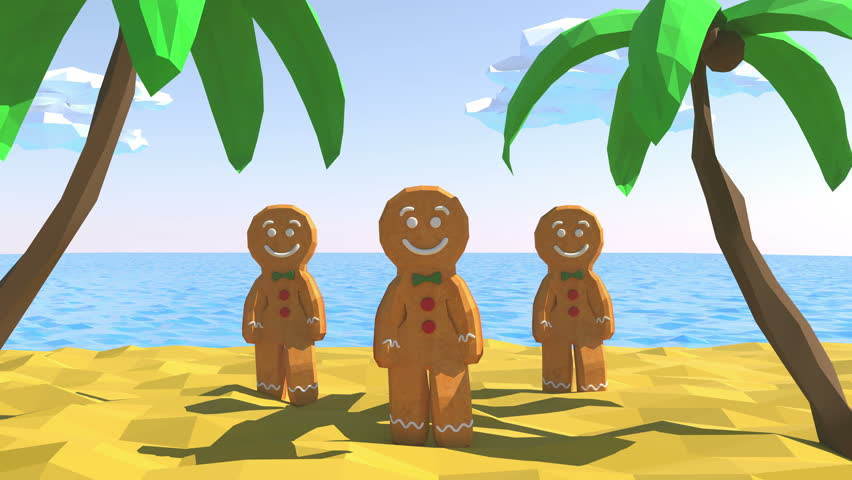 Gingerbread man Dancing in beach. 3D animation of funny, hot and sweet cookie boy dancing for holiday and kid event, show, VJ, party, music, banner, dvd. Palm, sand, sea, sky and summer. Low poly. | Shutterstock HD Video #28208305