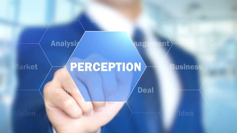 Perception, Man Working on Holographic Interface, Visual Screen