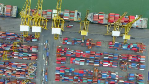 container cargo ship, import export, business logistic supply chain transportation concept for shipping aerial view 90 degree dolly shot aerial top view background, 4K
