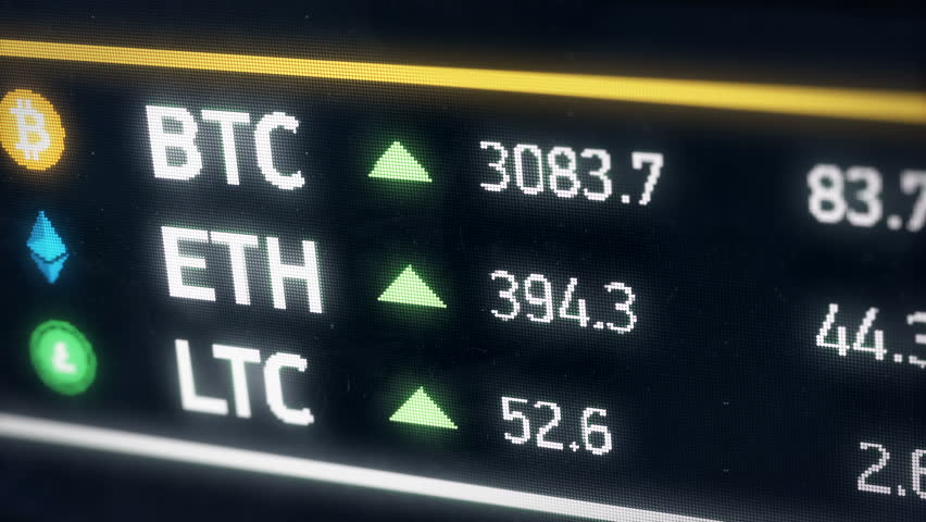 Bitcoin, Ether, Litecoin cryptocurrency prices growing, digital money gain value. Digital money value going up on the market. Etherium, Bitcoin, Litecoin cryptocurrencies