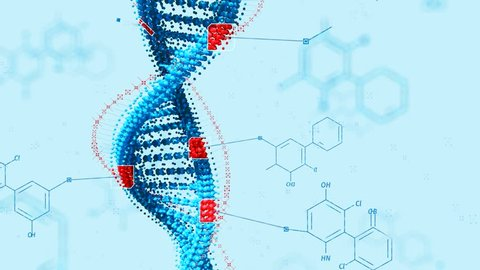 Biological engineering gene modification. GMO, genetically modified organism. Design DNA concept. White background.