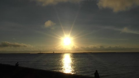 Sunset in Okinawa Naha Port (Interval shooting