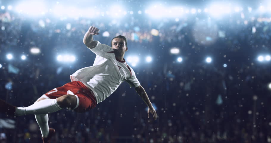 4k footage of a soccer player in dramatic play during a soccer game on a professional outdoor soccer stadium. Players wear unbranded uniform. Stadium and crowd are made in 3D. | Shutterstock HD Video #28283623