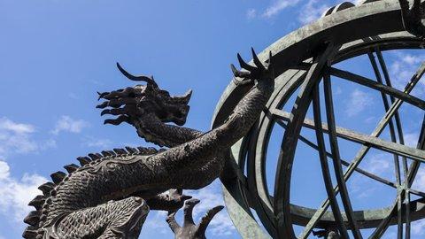chinese armillary sphere with blue sky