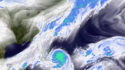 2010s: A weather map shows a huge storm gearing up to strike the East Coast of the US.