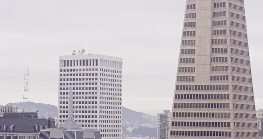 Aerial View of San Francisco City, Transamerica Pyramid