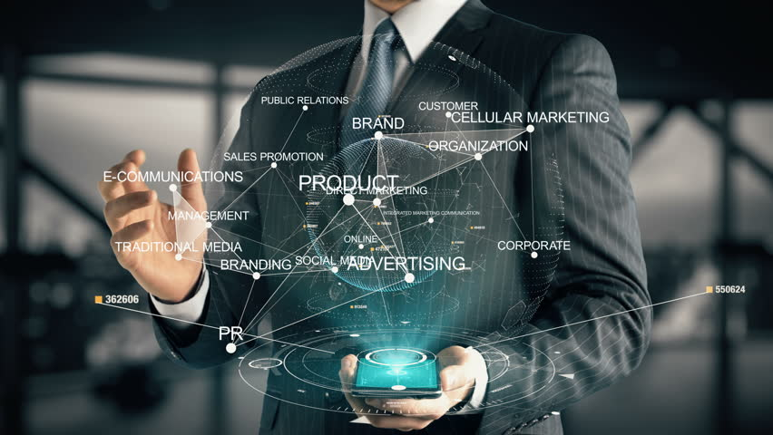 Businessman with Integrated Marketing Communication hologram concept