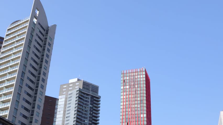 ROTTERDAM, NETHERLANDS   MAY 17, 2017: Modern Buildings City Architecture  Close Up