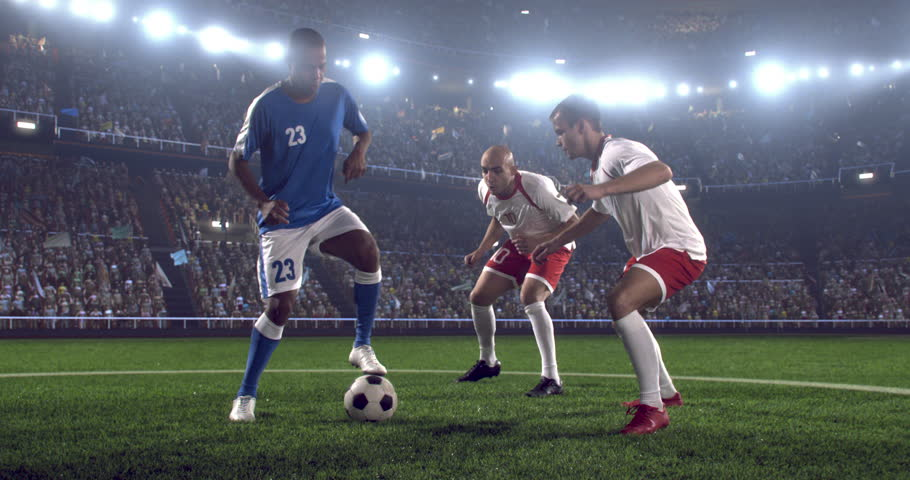 4k footage of a soccer player in dramatic play during a soccer game on a professional outdoor soccer stadium. Players wear unbranded uniform. Stadium and crowd are made in 3D.  | Shutterstock HD Video #28349413