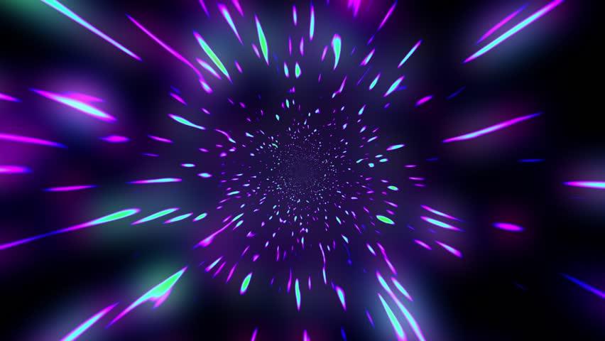 Fast Hyper Warp Neon Stars Tunnel Disco VJ Motion Background Loop | Shutterstock HD Video #28436743