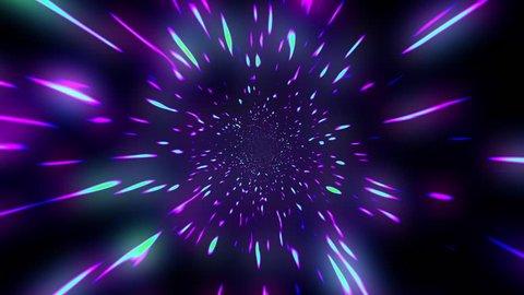 Fast Hyper Warp Neon Stars Tunnel Disco VJ Motion Background Loop