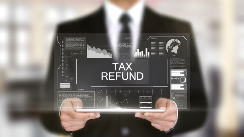 Tax Refund, Hologram Futuristic Interface, Augmented Virtual Reality | Shutterstock HD Video #28462123