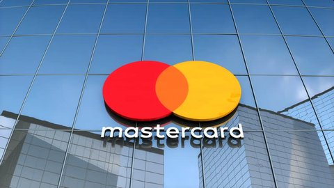 Editorial use only, 3D animation, Mastercard logo on glass building.