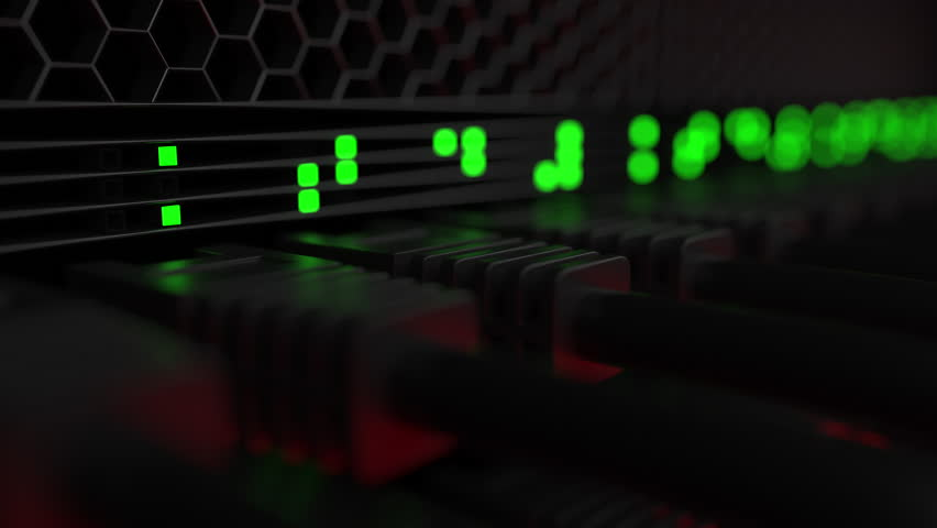 Server connectors and flashing green LED lamps. Computer equipment, network or modern data center concepts. 4K seamless loop animation