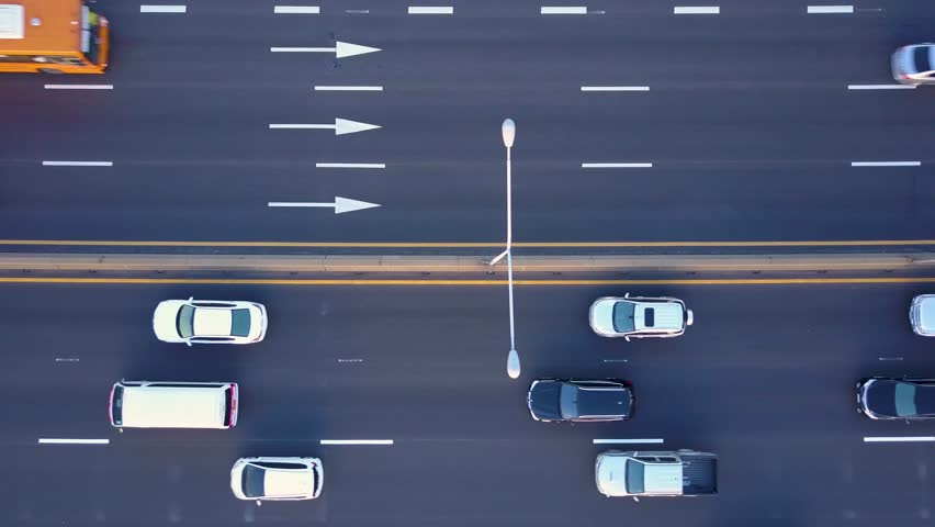 Aerial view from a drone of cars running on the highway and the road in Bangkok Thailand