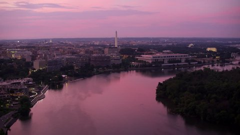 Washington, D.C. circa-2017, flying down Potomac River at sunrise. Shot with Cineflex and RED Epic-W Helium.