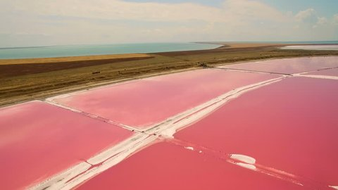 Aerial view of salt sea water evaporation ponds with pink plankton colour