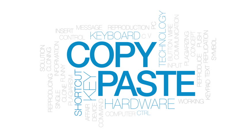 Copy Paste Animated Word Cloud Stock Footage Video 100 Royalty