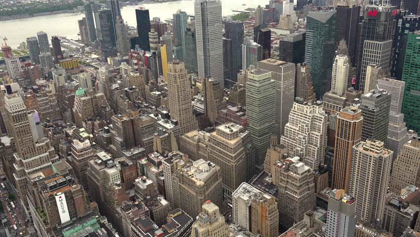 New York, USA - May 2017: View Manhattan skyline skyscrapers from Empire State Building, Manhattan, real time, UltraHd 4k | Shutterstock HD Video #28556293