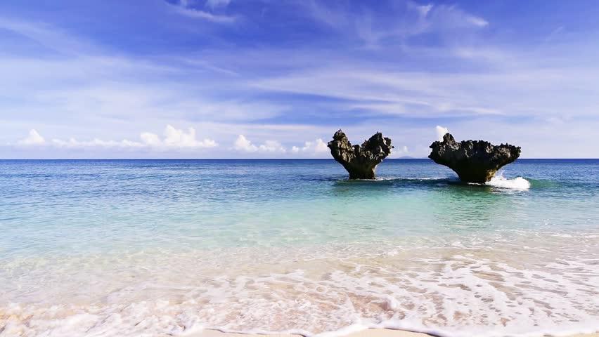 Heart rock, beach. Okinawa, Japan, Asia.