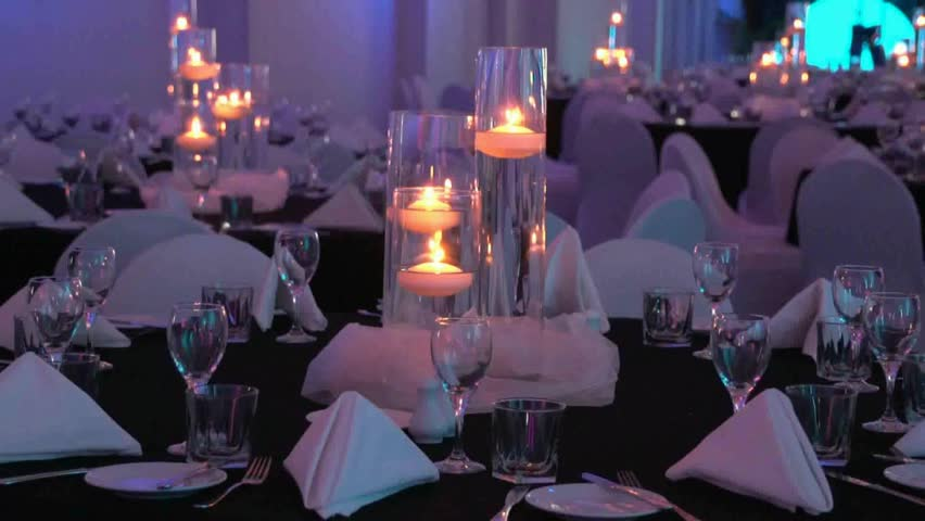 A Themed Evening Dinner Table Set Up For A Conference Or Wedding Venue Candles Lit With Shallow Depth Of Field Stock Footage Video 2860243 | Shutterstock & A Themed Evening Dinner Table Set Up For A Conference Or Wedding ...